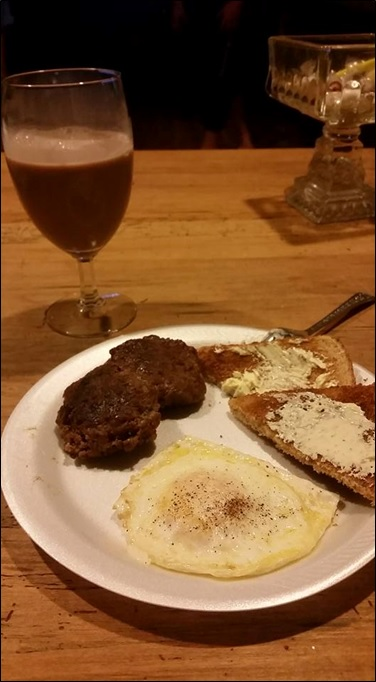 Heather Elkins had some breakfast for dinner, chocolate milk and all! Wild Hog processed by Milk & Honey Farms Meat Processing