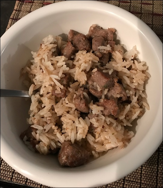Brother-In-Law John's Jalapeno w/ Cheddar Cheese Hog Sausage with Rice...drool...drool!