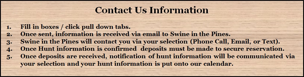Contact Us at Swine In The Pines