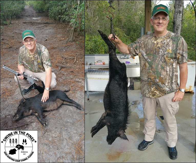 Andrew and His 74lb Sow taken at Swine In The Pines Hog Hunting Camp