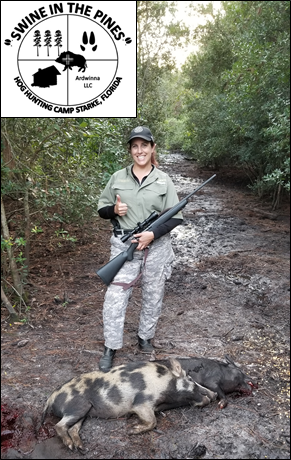 Audrey with her Wild Sow & Boar at Swine In The Pines - Hog Hunting Florida Style