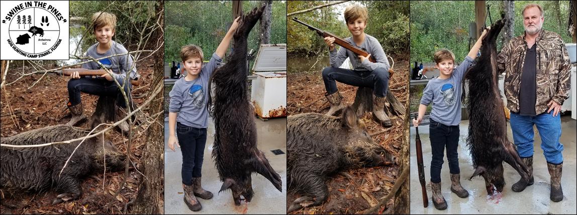 August with His First Hog this nice 110lb Wild Boar at Swine In The Pines North Florida's Hog Hunting Camp