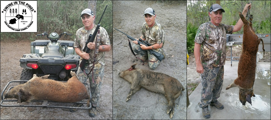 Bill shot a nice 128lb Wild Pig at Swine In The Pines Hog Hunting Camp