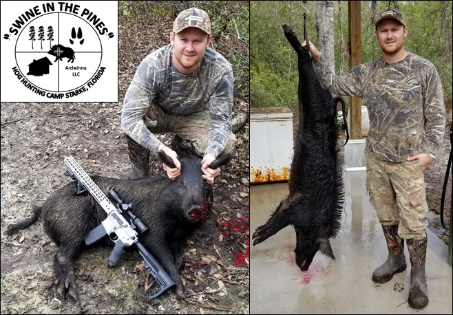 Calen with his 110lb Sow, shot it on the run! at Swine In The Pines North Florida Hog Hunting Camp