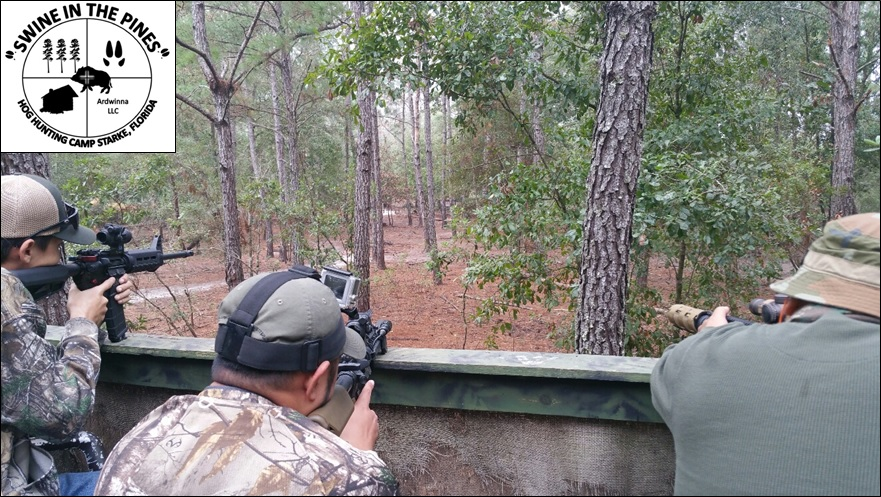 George, Cameron, Jon, and Gilbert getting ready to hunt at Swine In The Pines in North Florida