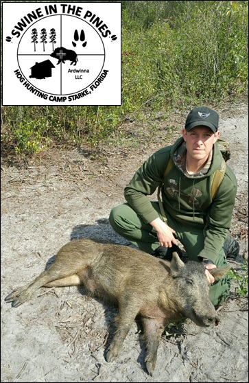 Chris Dlugokinski took this nice Wild Boar at Swine In The Pines Hog Hunting Camp