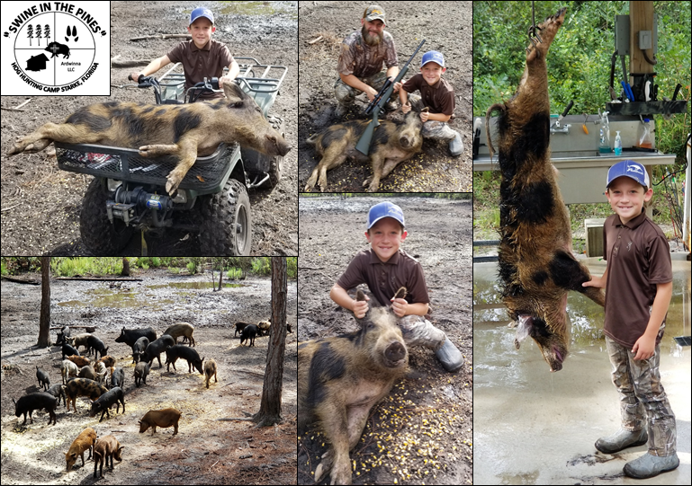 Chris took this nice 110lb Wild Boar at Swine In The Pines Hog Hunting Camp
