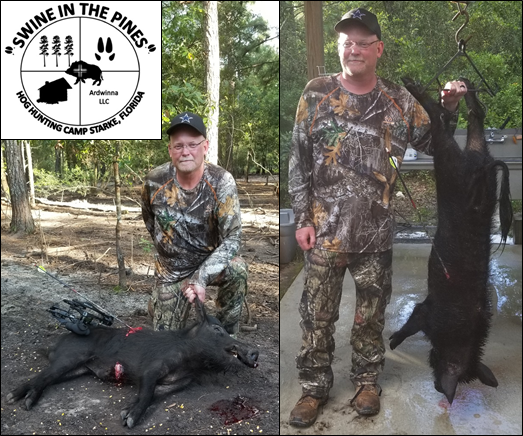 Chris made an awesome Bow shot on this 90lb Wild Boar taken at Swine In The Pines Hog Hunting Camp in Starke, Florida