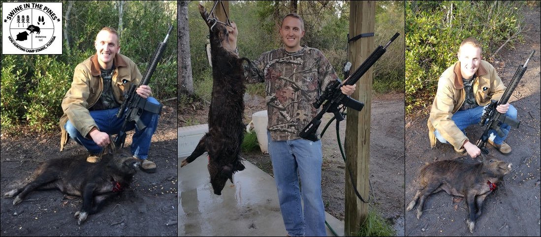 Christopher took this nice Wild Boar on a Guided Hunt at Swine In The Pines in Starke, Florida