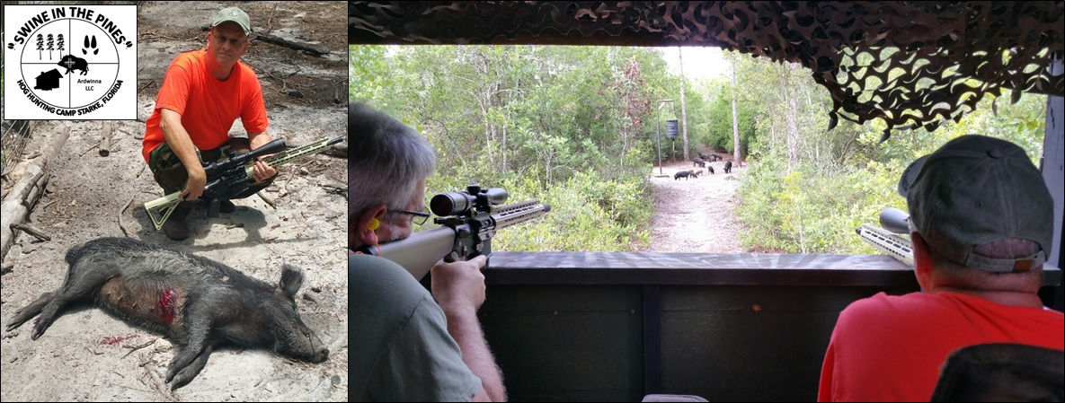 Rob and Chuck enjoying the view! before Chuck takes his 100lb Piney Woods Rooter at Swine In The Pines Hog Hunting Camp