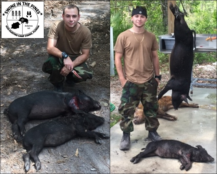 Two Wild Hogs with one Great shot! at Swine In The Pines in Northeast Florida