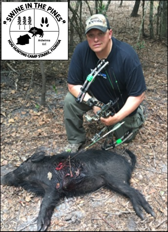 Dom's first Hog with Bow at Swine In The Pines on a Guided Hog Hunt