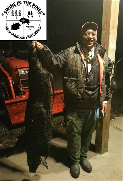 Donald with his 82lb Boar from Swine In The Pines after a Guided Hog Hunt