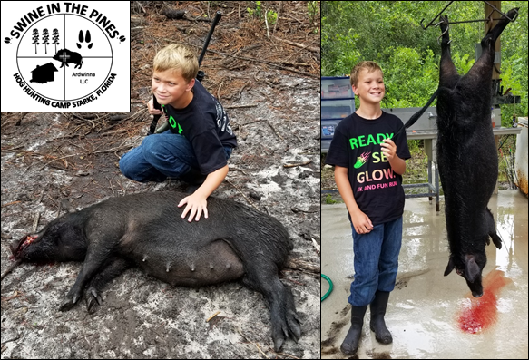 Gavin with His awesome 132lb Wild Sow taken at Swine In The Pines Hog Hunting Camp