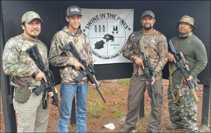George, Cameron, Jon, and Gilbert Tactical Hog Slayers ready for their Piney Woods Rooter at Swine In The Pines