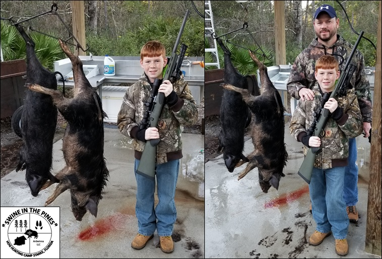 First Time Hog Hunt! 53lb and 76lb Sows - Swine In The Pines in Starke, Florida
