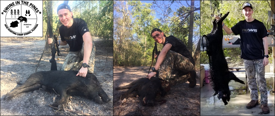 John with his 80lb Wild Boar taken at Swine In The Pines in Starke, Florida