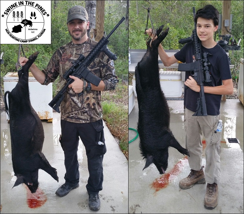 Two nice Sows taken for the freezer from Swine In The Pines Hog Hunting Camp