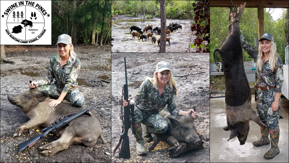 Kacie with Her 204lb Wild Boar taken on a Guided Hog Hunt at Swine In The Pines in North Florida
