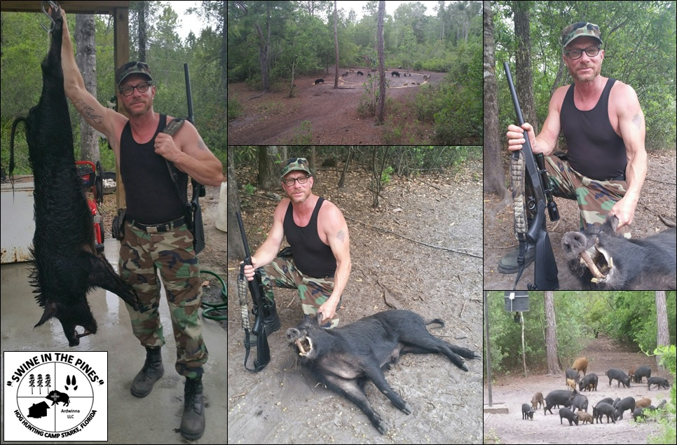 Ken took this 112lb Wild Boar at Swine In The Pines Hog Hunting Camp in North Florida
