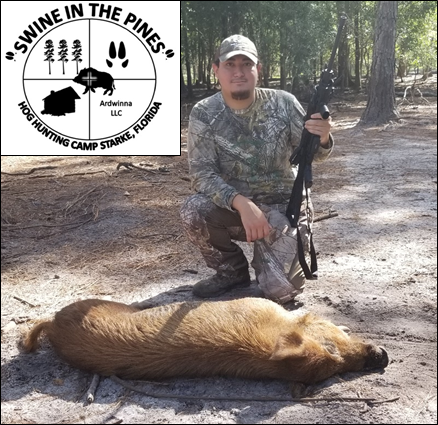 Kurt with his Wild Pig taken at Swine In The Pines North Florida Hog Hunting Camp