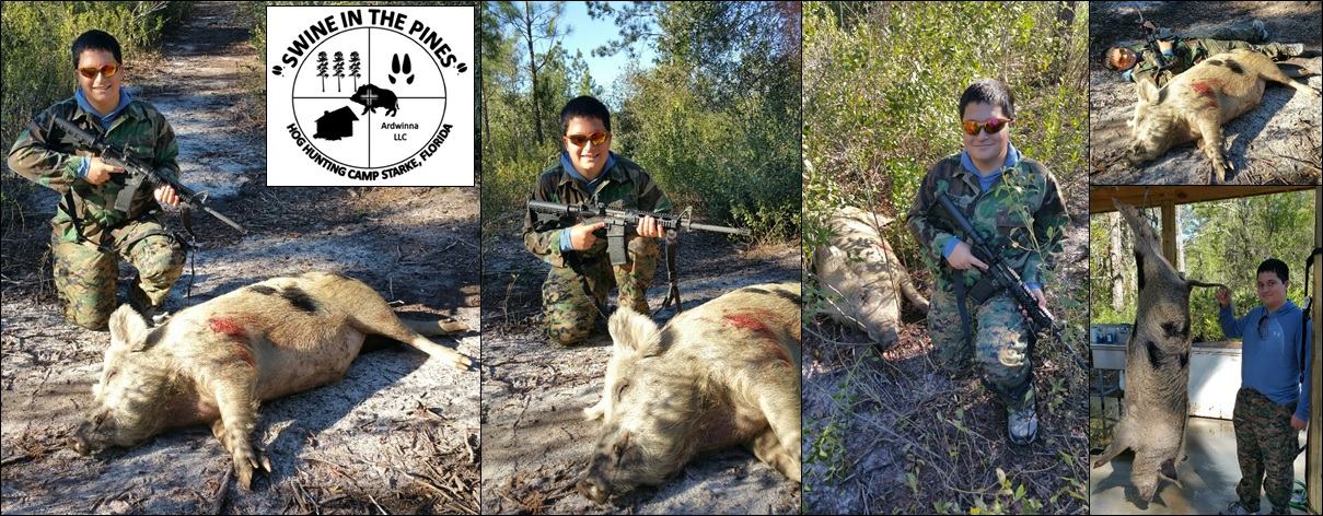 Logan shot this Monster 269lb Wild Boar at Swine In The Pines in Northeast Florida