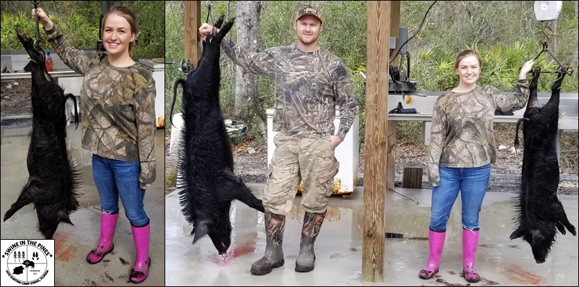 Marina with Her First Hog, this nice 62lb Wild Boar taken from Swine In The Pines in Starke, Florida