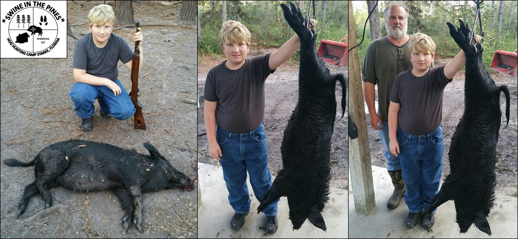 Mark took this awesome 93lb Sow at Swine In The Pines Hog Hunting Camp