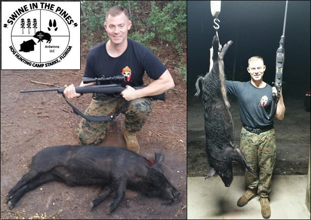 Michael popped a nice Wild Boar at Swine In The Pines Hog Hunting Camp in Northeast Florida