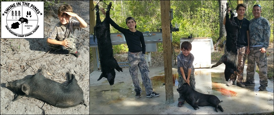 Gene and his boys - Nicolas, Nathan, and Noah after there Guided Hog Hunt at Swine In The Pines
