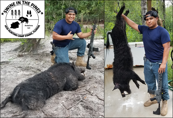 Quincy with his 186lb Monster Wild Boar! after a Guided Hog Hunt at Swine In The Pines in North Florida