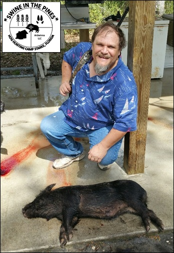 Wayne took this nice Wild Sow at Swine In The Pines North Florida Hog Hunting Camp